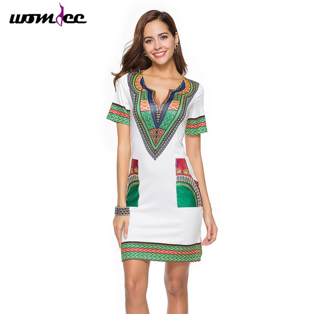 dd82735d850 Bohemian Ethnic Print Dashiki Dress 2018 Women Short Sleeve Traditional  Sexy V Neck Summer Dresses For Woman Plus Size Clothing