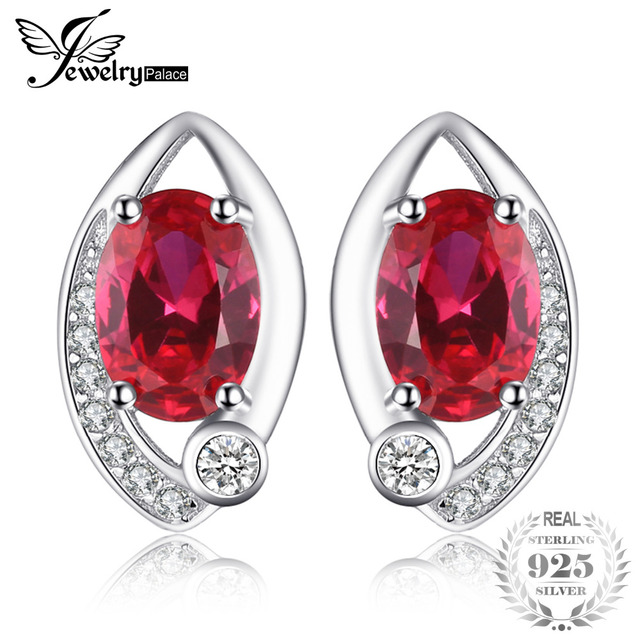 JewelryPalace Eye 2.3ct Created Ruby Stud Earrings For Wedding Women 100% Genuin