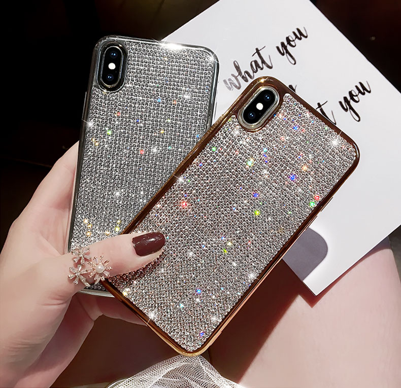 pretty nice cb6a8 95c16 US $2.49 35% OFF|Rhinestone Bling Glitter Case for iphone XS MAX XR 10 X 7  8 Plus 6 6s Soft Silicone TPU Diamond Sexy Girl Protector Back Cover-in ...