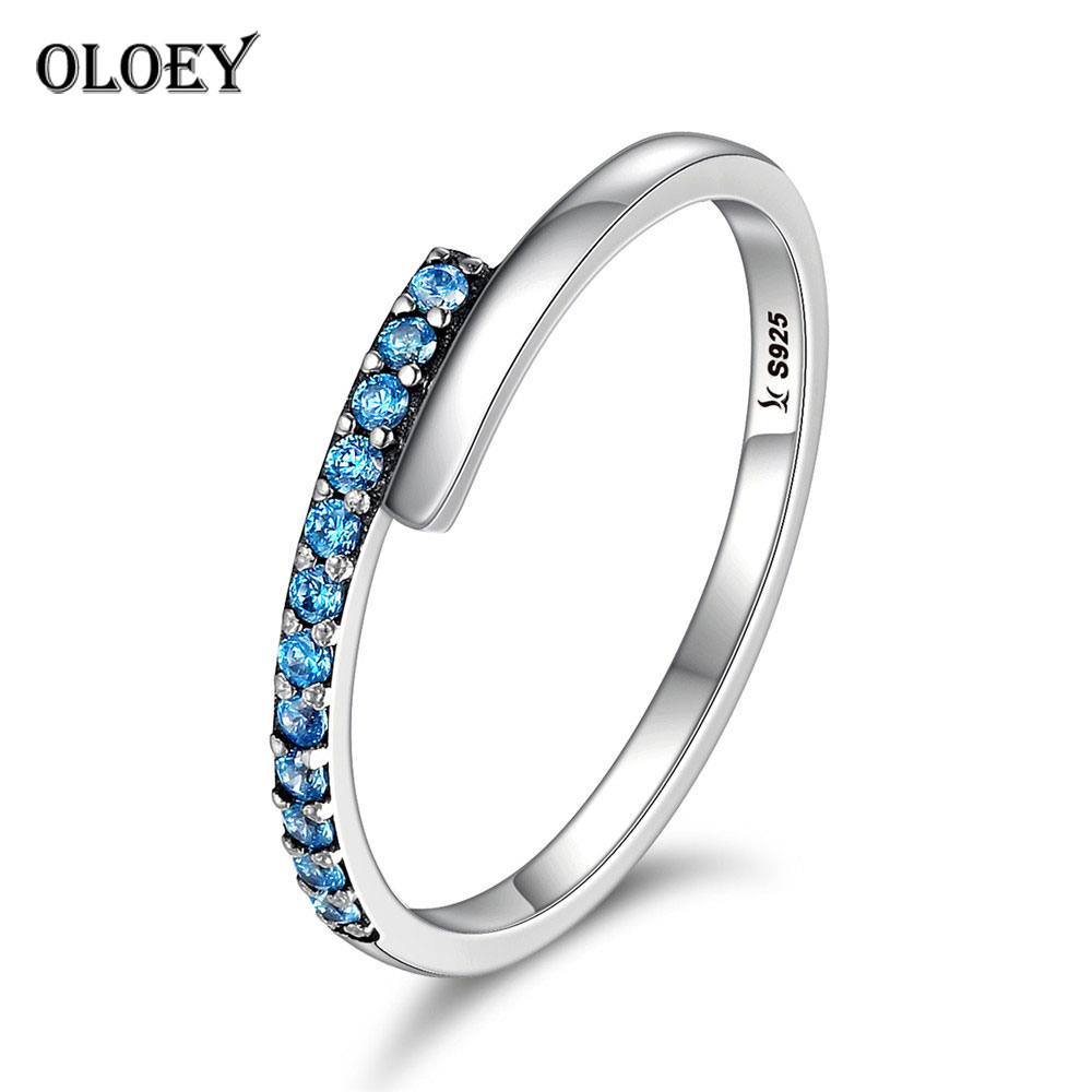 OLOEY Authentic 925 Sterling Silver Ring Ladies Geometric Blue CZ Finger Rings for Women Fine Jewelry Gifts Drop Shipping YMR158