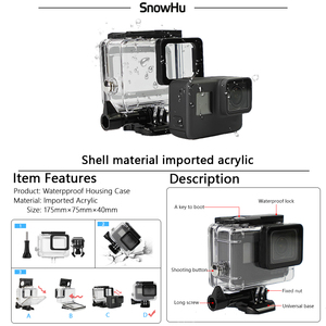 Image 4 - SnowHu for Gopro Accessories Set For Gopro hero 7 6 5 Waterproof case Protection Frame monopod for Go pro hero 7 6 5 GS73