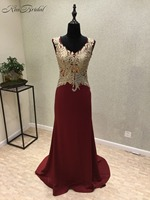 New Amazing Long Evening Dress 2018 V Neck Sleeveless Floor Length Appliques Chiffon Sexy Prom Dresses party Gowns Vestidos