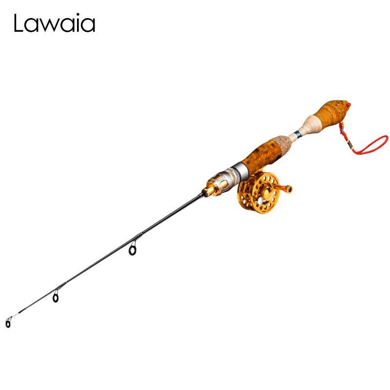 Lawaia canne à pêche sur glace Mini naturel Luohan bambou matière courte 60 cm canne à pêche hiver petite Valve tige canne à pêche 2 Section