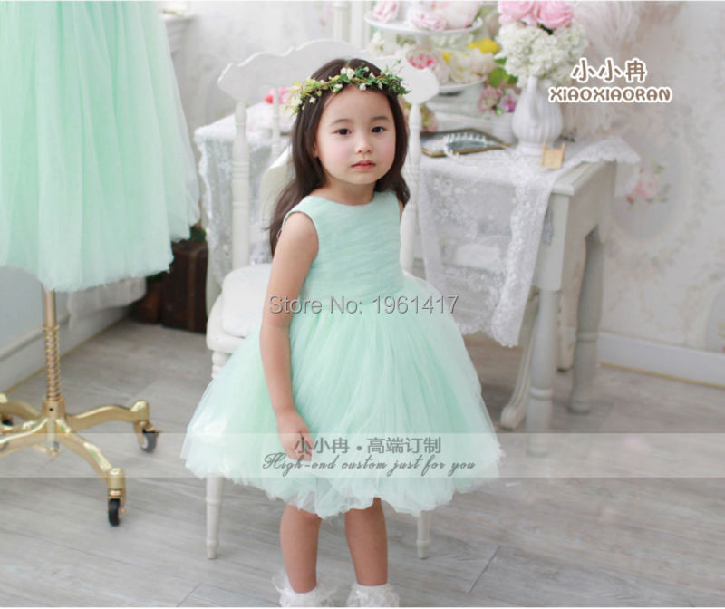 2016 Fashionable Sweet Baby Girl's Green Dress Little Girl's Dress Free Shipping Can Be Customized Factory Direct Sale Price 2016 summer fashion dresses of the girls beautiful female baby lace dress can be customized factory price direct selling