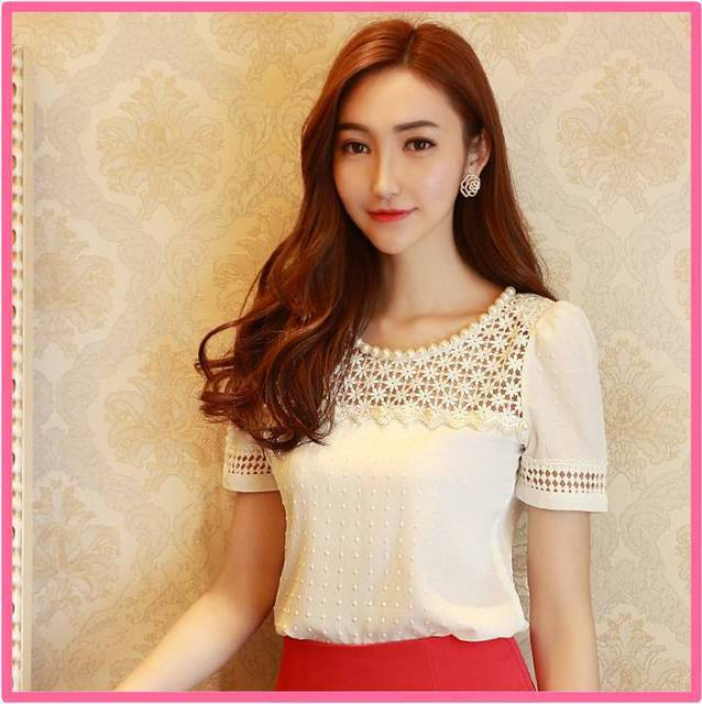 e5dc8427 2015 New Korean Style Women summer tops Girl Casual Flower Lace Hollow Out  Short Sleeve Chiffon Blouse female shirts