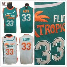 2017 Mens Flint Tropics Movie basketball jerseys Semi Pro #33 Jackie Moon Jersey Stitched Green White Basketball Shirts