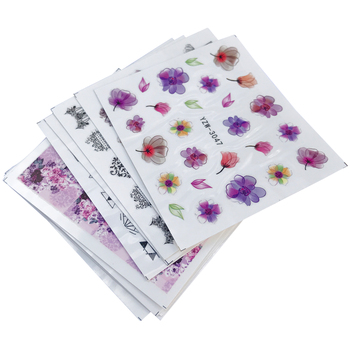 цена на WUF 10 Sheets Nail Stickers Mixed Designs Water Transfer Nail Art Sticker Watermark Decals DIY Decoration For Beauty Nail Tools