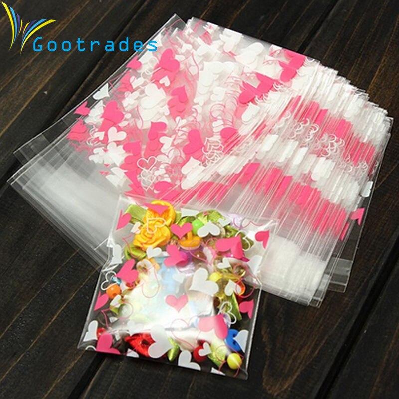 100Pcs Süßigkeiten Cookie Tasche selbstklebende Party Verpackung Geschenktüte