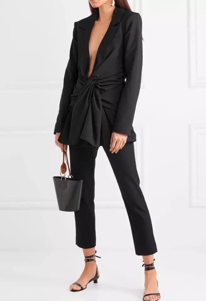 Profondo Vestiti Donne Autunno Manica Blazer Giacca Up Dei Lunga 2018 Sexy Modo Cappotti Il Nero V Del Di Scollo Ol A Merletto Delle RS0ERXcOqg