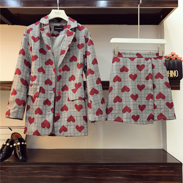 2018 Autumn Women's Blazer Suit New Love Printed Plaid Small Suit Jacket + High Waist Skirts Two-piece Ladies OL Mini Skirt Sets