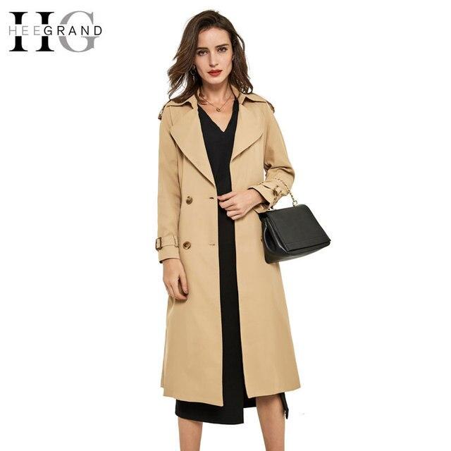 Hee grand 2016 primavera delgado doble de pecho de las mujeres turn-down collar trench coat cintura ajustable más el tamaño xl manteau femme wwf580