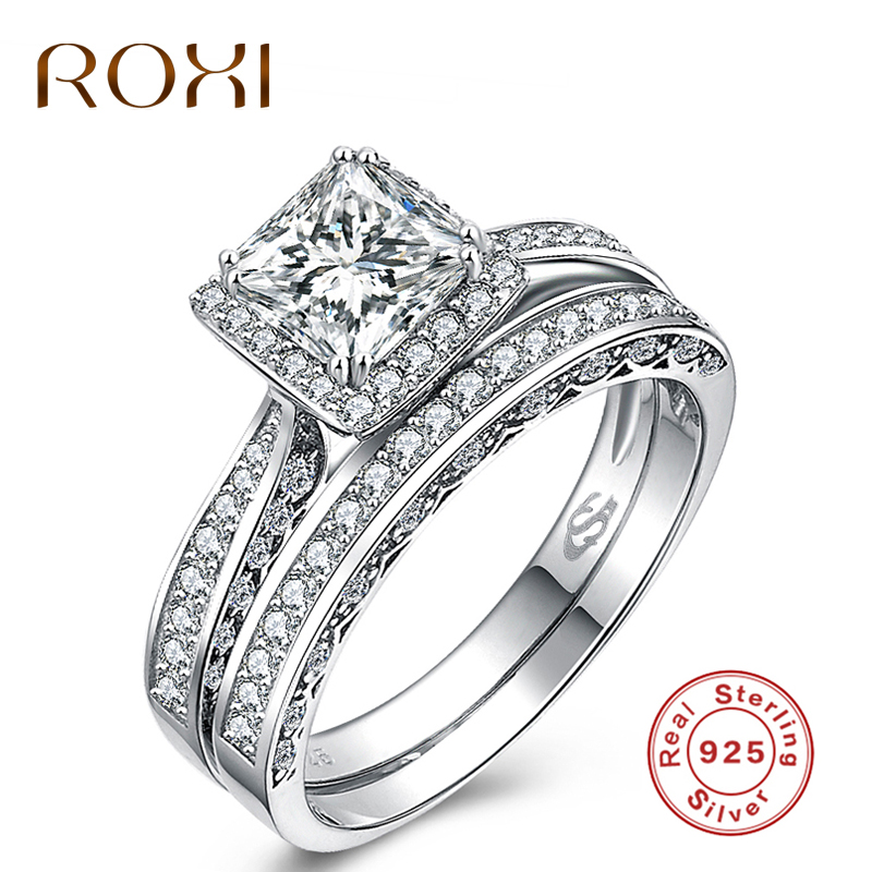 ROXI Pure 925 Sterling Sliver Rings for Women Luxury Sliver Engagement Wedding Ring Set Cubic Zirconia Women anillos Jewelry