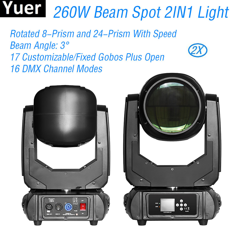 2Pcs/Lot Color Music Moving Head Light 260W 9R Beam Spot 2IN1 DJ Disco Stage Light DMX512 Strobe Effect Party Bar Moving Head