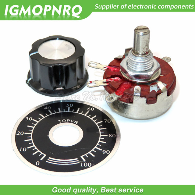 1 set WTH118 DIY Kit Parts 2W 1A Potentiometer 1K 2.2K 4.7K 10K 22K 47K 100K 470K 1M ohm MF A03 + WHT118 + 0 100 Scale IGMOPNRQ