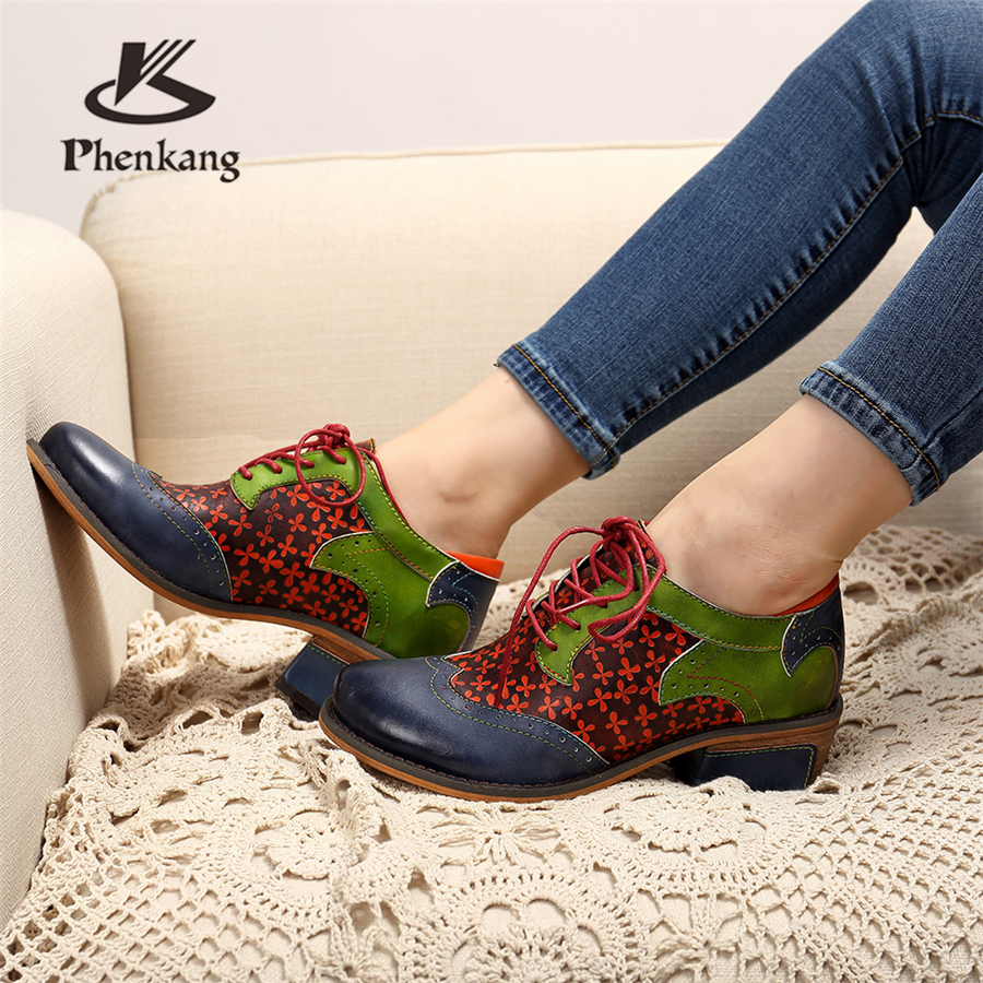 100 Genuine cow leather Retro lady Pumps casual shoes vintage women handmade oxford shoes for women blue green 2019 spring in Women 39 s Pumps from Shoes