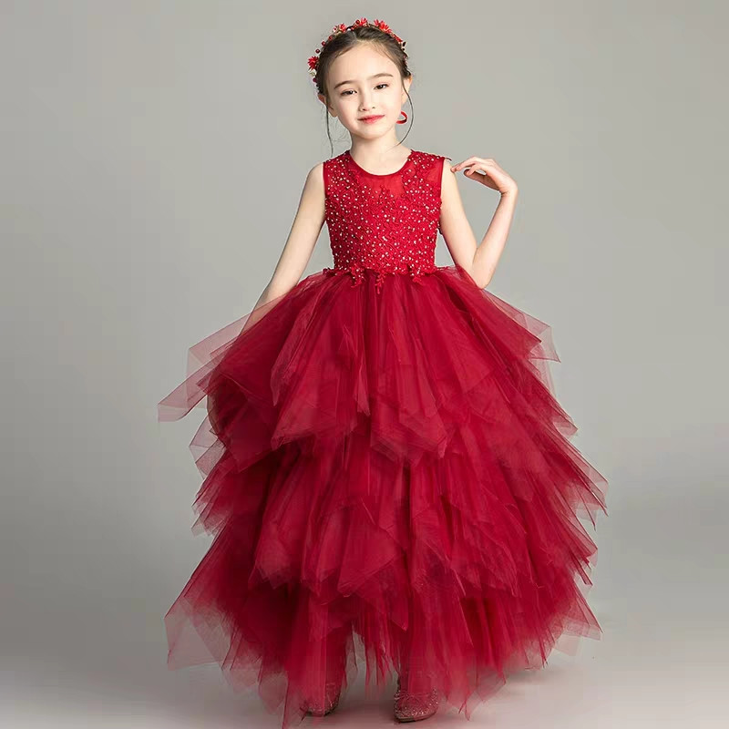 3~14Years Children Girls Elegant Birthday Evening Party Princess Lace Long Prom Dress Kids Teens Layers Mesh Skirt Dress Clothes3~14Years Children Girls Elegant Birthday Evening Party Princess Lace Long Prom Dress Kids Teens Layers Mesh Skirt Dress Clothes