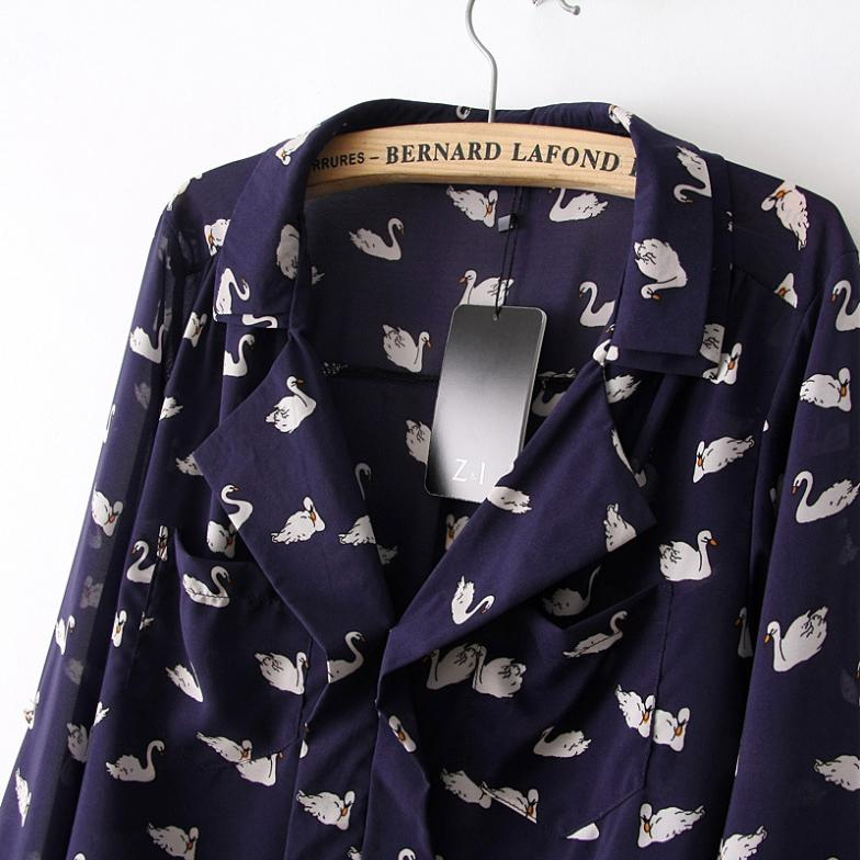 ad7969c3602f55 New Fashion Womens Blue Cute Swan Animal Print Blouse Shirt Long Sleeve  Turn down Collar Shirt Casual Slim Tops H388-in Blouses & Shirts from  Women's ...
