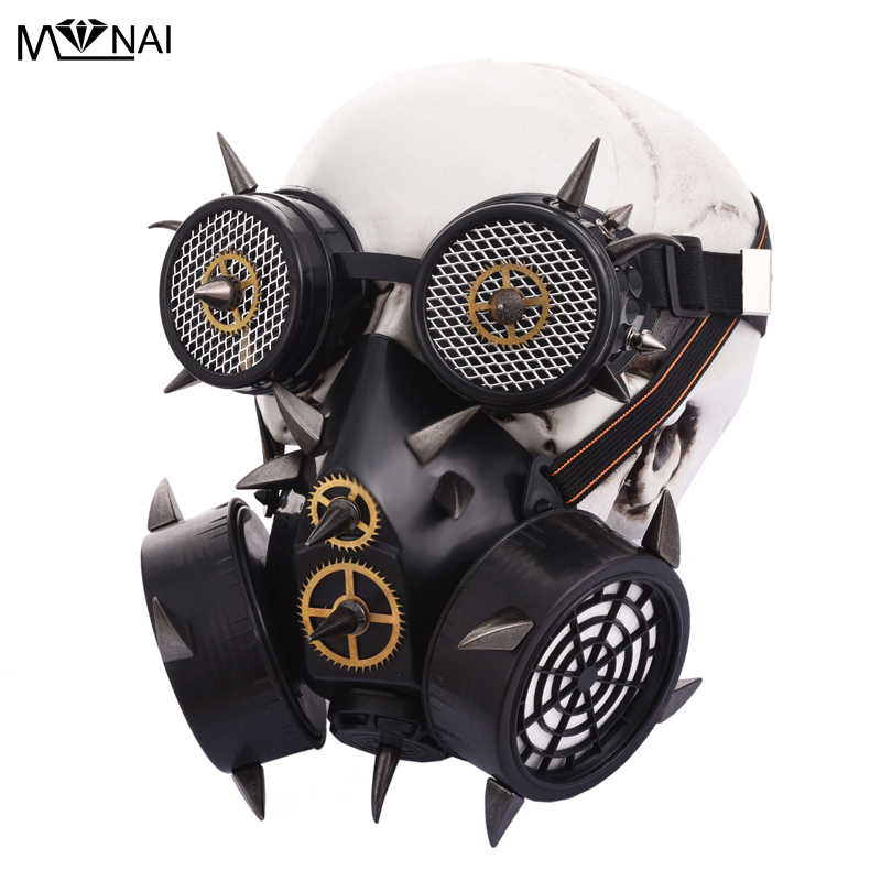 Boys Costume Accessories Reliable Steampunk Retro Black Plastic & Metal Rivet Steampunk Mask Goggles Cosplay Army Game Gothic Gas Mask Halloween Props Accessories