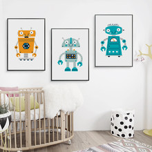 Canvas Posters And Prints Cute Abstract Cartoon Robot Nursery Art Wall Painting Picture Children