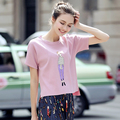 2017 New Fashion Women Casual Shirt Cartoon Printed Short Sleeve O-Neck T-Shirt Slim Elegant Tops Lady T-shirt