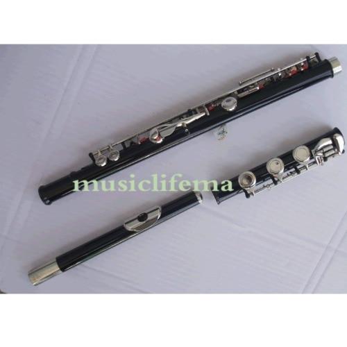 Noir 17 trous ouverts flûte C clé + E grand métal ton Tec