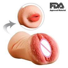Realistic Vagina Pussy 3D Deep Throat Oral Sex Mouth with Teeth Tongue Blow Job Toys for Male Masturbator Artificial