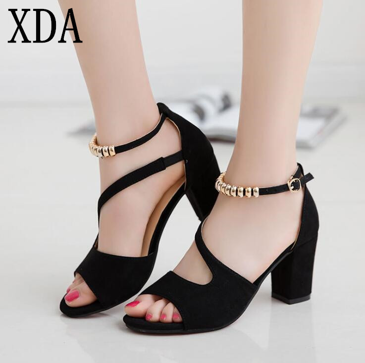 XDA 2019 fashion sexy fish mouth hollow Roman sandals thick with beaded high heels female summer Sexy female sandals girl shoes in sri lanka