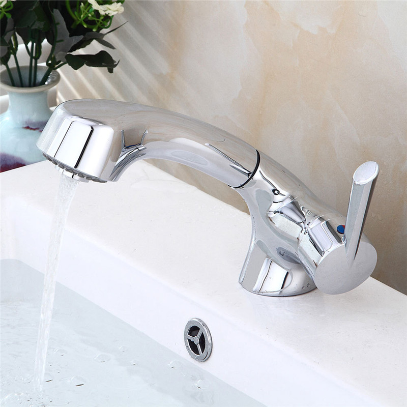Bathroom Basin Faucet Pull Out Sink Mixer Tap Chrome Brass Sink Faucet Hot Cold Single Handle Wash Basin Unique design TorneiraBathroom Basin Faucet Pull Out Sink Mixer Tap Chrome Brass Sink Faucet Hot Cold Single Handle Wash Basin Unique design Torneira