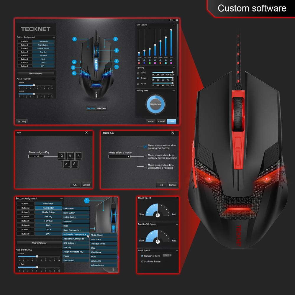 TeckNet 7000DPI Programmable Gaming Mouses Professional Gamer Mouse RAPTOR Pro Adjustment 8 DPI Level Gamer Mice for PC Laptop in Mice from Computer Office
