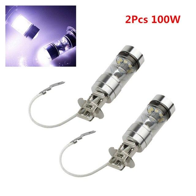 2PCS 12 V 100W H3 LED Bulb 20 SMD Car Fog Light Chips 12V ~ 24V 360 Degrees White Car Lamp