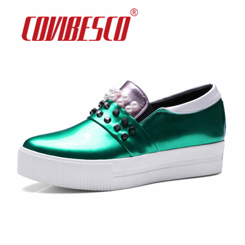 ФОТО COVIBESCO Casual Loafers Sweet Candy Colors Women Flats Solid Spring Summer Style Shoes Woman Plus Size High Platforms Shoes