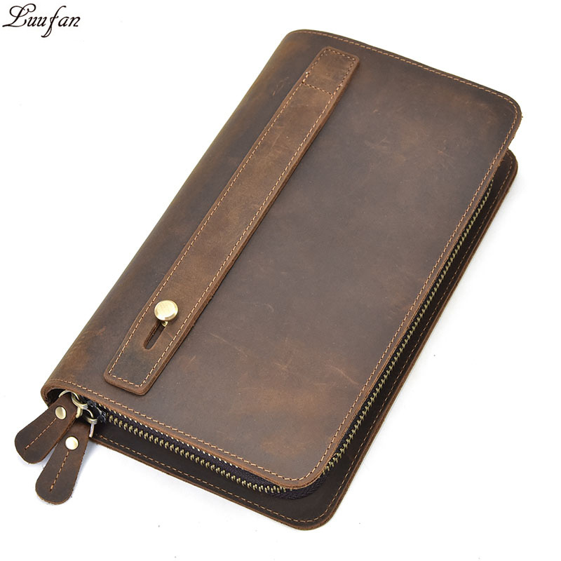 Men s Big crazy horse leather clutch bag Double layer Genuine leather wallet zip around long