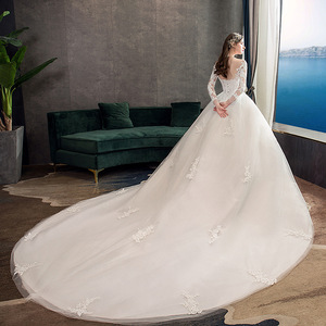 Image 4 - 2019 New Classic Off White O Neck Long Sleeve Wedding Dress Simple Lace Embroidery With Train Custom Made Slim Bridal Gown L