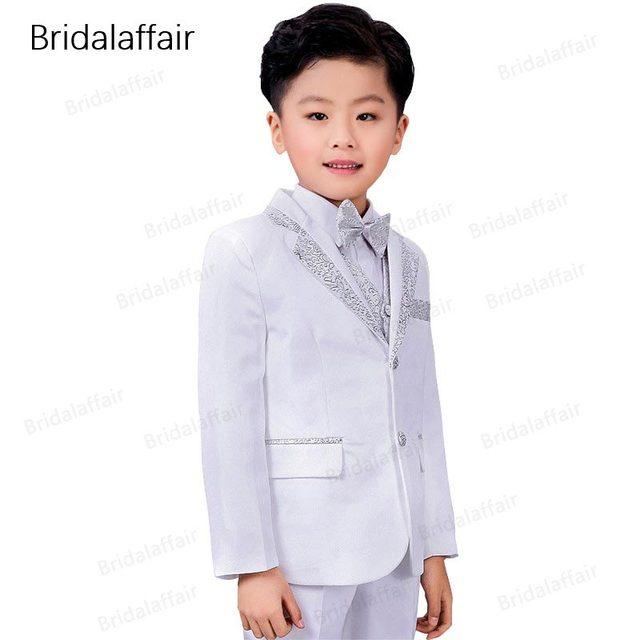 60c68e34ef707 KUSON Fashion Kids Suits Flower Boys Party Tuxedo Costume Suits Children  Shiny White-silver Wedding Suit 2018(Jacket+Pants+Vest)