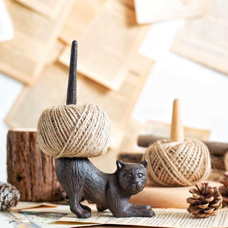 Vintage en fonte chat Figure chanvre corde titulaire Animal serviette porte-papier de soie