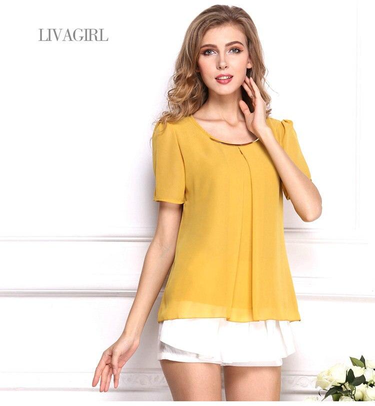 2018 summer office chiffon tee shirt femme fashion solid women casual T-shirt short sleeve tops beach tops AI1212