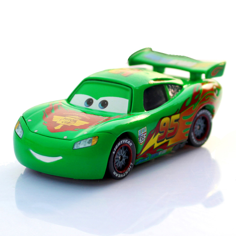 Disney Pixar Cars 2 No.95 Lightning McQueen Green Limited Collection 1:55 Diecast Metal Car Model Birthday Gift Toy For Kid Boy