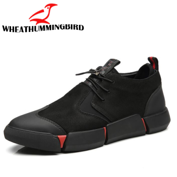 Brand High quality all Black Men s leather casual shoes Fashion Sneakers winter keep warm