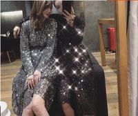 Bling Sequins Dress Silver/Black 2018 Summer Women Loose Party /Date Dress Clothing Vestidos Round Neck Midi Dresses LT516S30