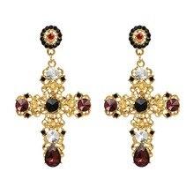 Vintage Boho Crystal Cross Drop Earrings for Women Baroque Bohemian Large Long Earrings Jewelry Brincos 2018