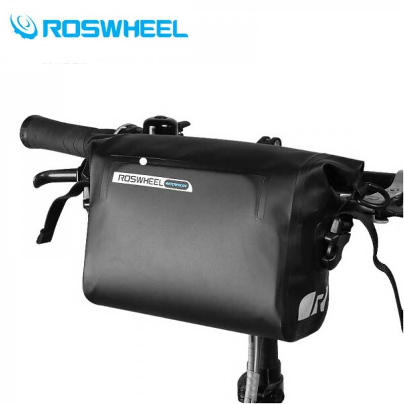 ROSWHEEL 3L Cycling Bike Bicycle Handlebar Front Basket PVC 100% Full Waterproof Bags Bike Accessories