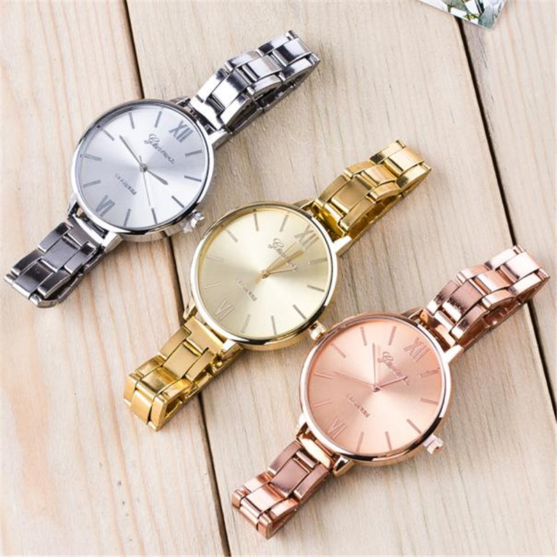Luxury Brand Watches Women Geneva Quartz Analog Wristwatch Golden Band Dial Watch Relogio Feminino wholesale Free