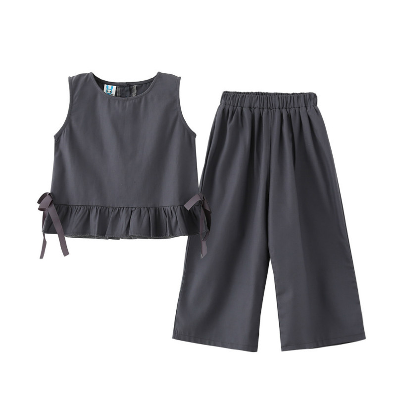 Tanggetu Children's Suit for Girl Summer 2018 New Type Cotton Two Pieces Sleeveless Shirt and Pant Gray Girls Simple Clothing
