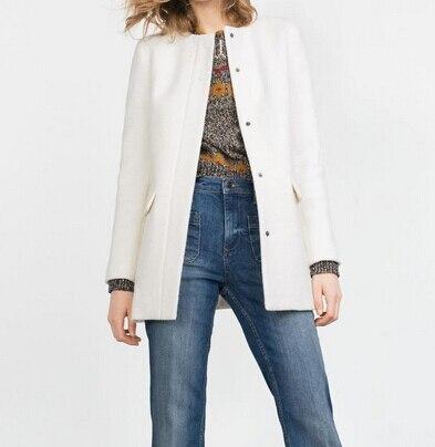 Manteau long col rond femme