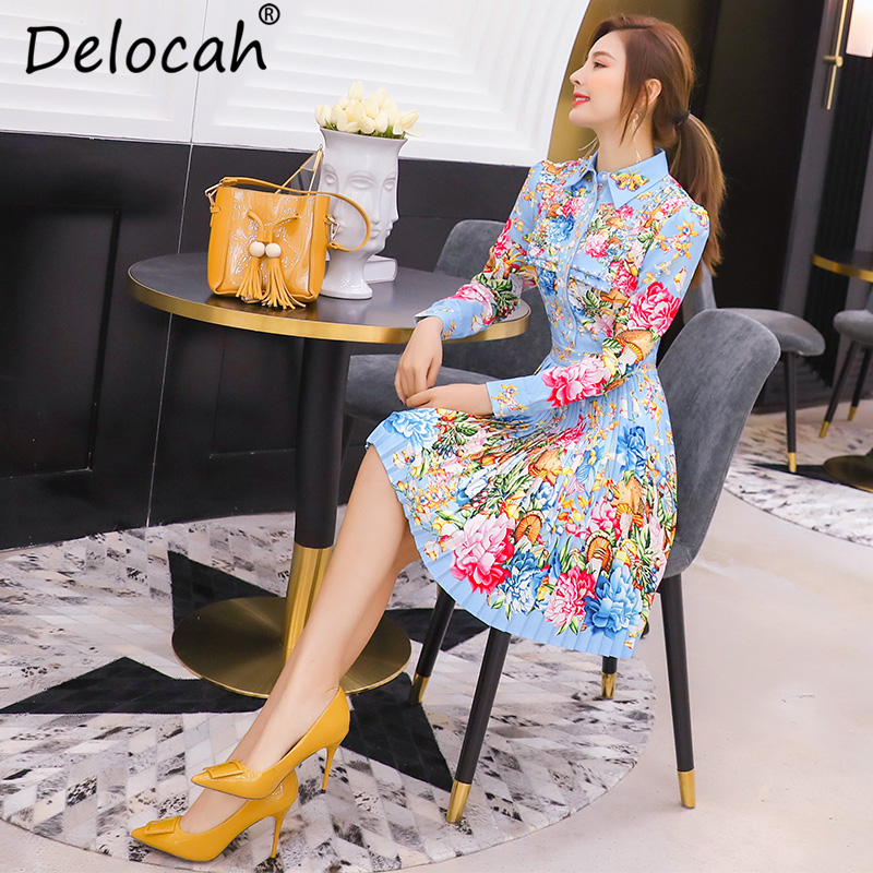 Delocah Autumn Women Dress Runway Fashion Designer Long Sleeve Gorgeous Beading Flower Printed Pleated Mini Lady Dresses in Dresses from Women 39 s Clothing