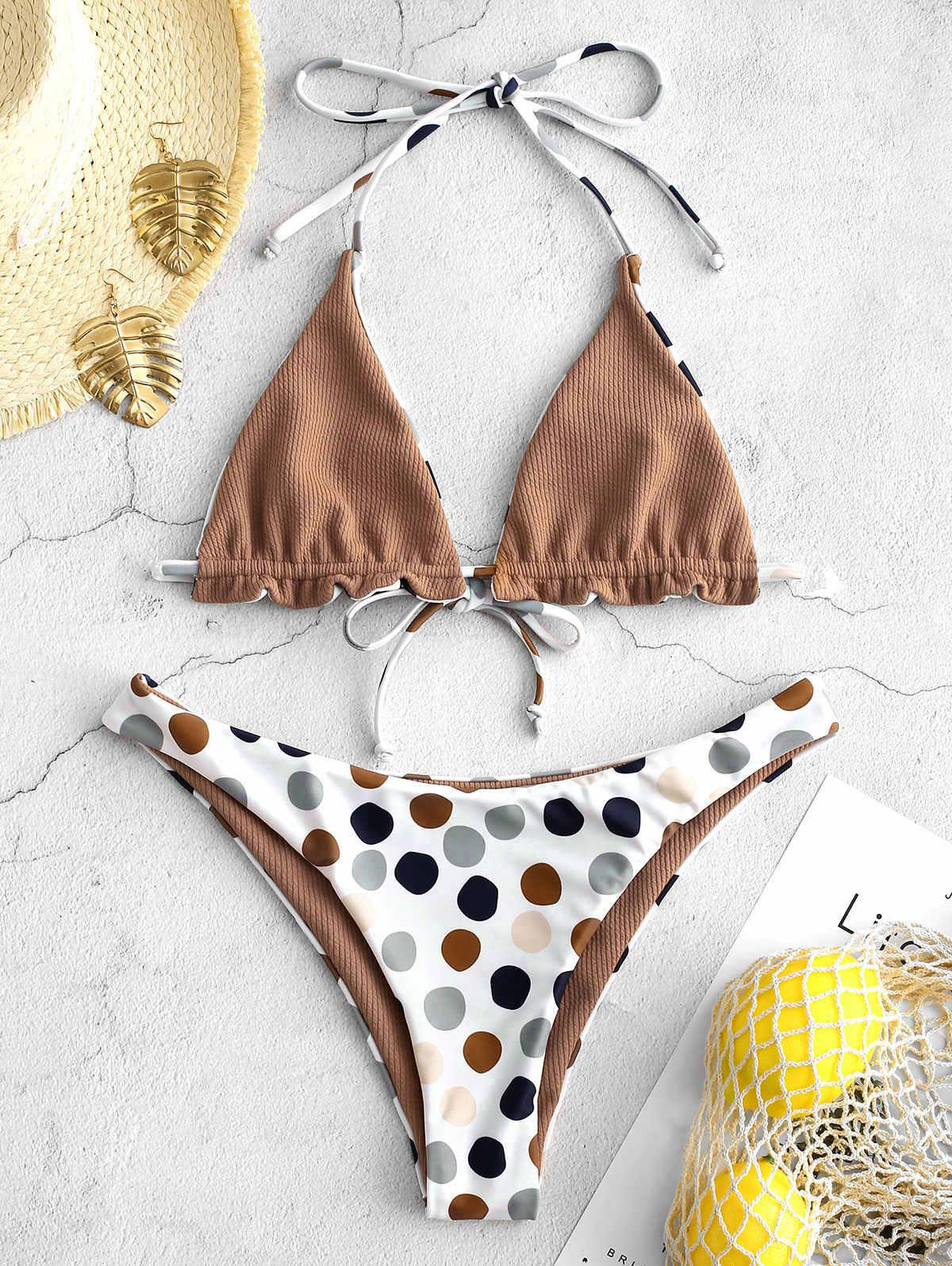 ZAFUL 2019 Sexy niskiej talii Bikini kobiety stroje kąpielowe Push Up strój kąpielowy wzburzyć strój kąpielowy Polka Dot Biquinis lato plaża nosić kobiet