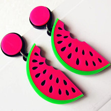 Fashion Summer Acrylic Fruit Watermelon Big Earrings For Women Punk Hippop Slice Banana Long Party Club Jewelry