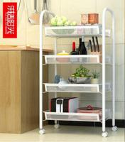Kitchen rack bathroom floor pulley movable rack multi layer storage rack