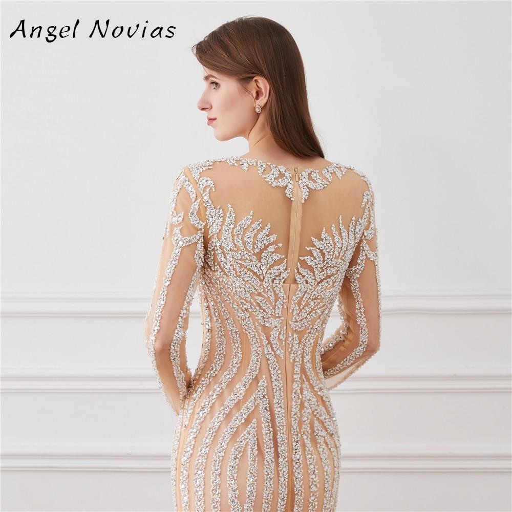 Luxury Long Sleeve Mermaid Evening Dress 2018 Champagne Bling Bling ...