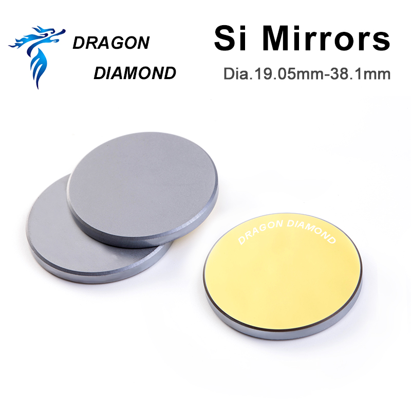 1pcs 3pcs Co2 Laser Cutting Engraving Si Mirror Dia 19.05mm 20mm 25mm 30mm 38.1mm Laser Silicon Reflective Mirror